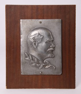 Titanium Plaque Of Vladimir Lenin, With Original