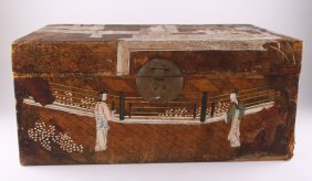 Antique Chinese Hand Painted Polychrome Pigskin