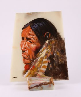 Native American Chief Oil Painting On Onyx Stone Slab,
