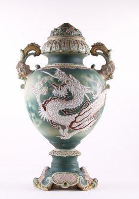 Japanese Satsuma Dragon Floor Vase Pottery Lamp