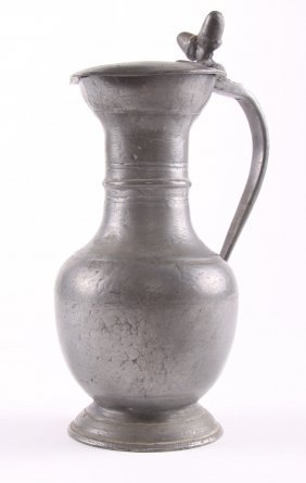 19th Century Pewter Pitcher. Size: See Attached Ruler