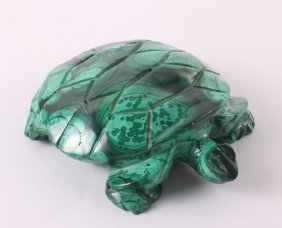 African Malachite Sculpture Of A Turtle. Size: See