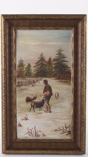Unsigned, Vintage Oil On Canvas Possibly French Origin.