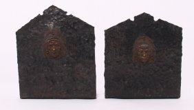 Antique Native American Chief Thin Peened Iron Bookends