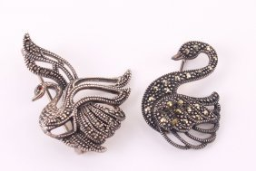 Two (2) Sterling Silver Swan Marcasite Brooches, Made