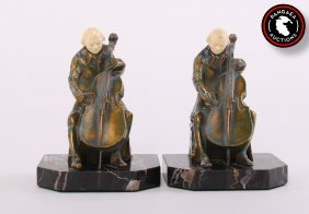 Two (2) Cellist Player Bookends By John Ruhl For The
