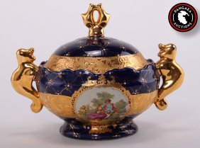 L.f. Fine Porcelain Limoges L.r. G. Cobalt Blue And