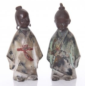 Two(2) Antique Japanese Partially Polychromed Bronze Fi
