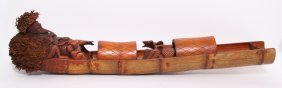 Vintage Asian Fisherman In A Canoe, Finely Carved From