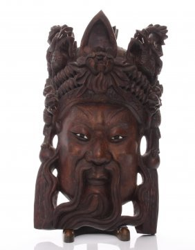 Early 20th Century Chinese Emperor Rosewood Carved Mask