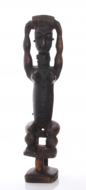A Mid Century Large African Wood Carving Of A Fertility