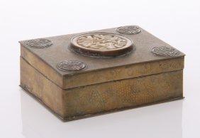 Antique Chinese Minguo Era Jade & Brass Trinket Box. S