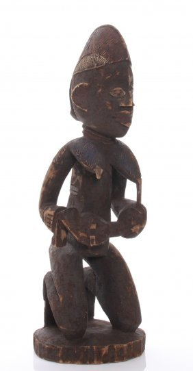 Antique African Fertility Figure Carved From Wood Depic