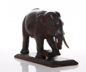 Antique Wood Carved Elephant Lifting A Log. Size: See