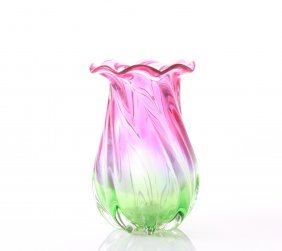 Murano Blown Glass Flower Vase Of Pink And Green Colors