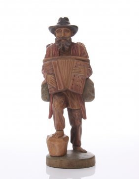 Antique Wood Carving Of A Man Playing An Accordion, Eur