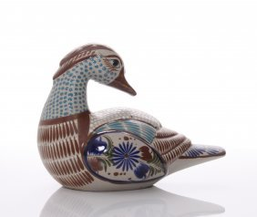 """Vintage Hand Painted Ceramic Duck, Mexico. Signed """"mex"""