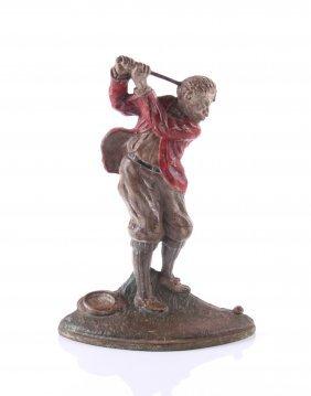Antique Figural Door Stop, Cast Iron Golfer. Condition