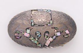 Vintage Sterling Silver Belt Buckle With Abalone Shell,