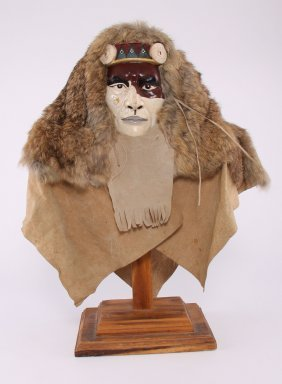 Tribal Warrior Wood Carved Bust With Painted Face With