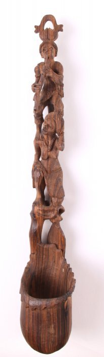 Southeast Asian Wood Carved Totum Pole Spoon. Size: Se