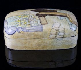 Vintage Hand-carved, Hand-painted Polychrome Wood Box,
