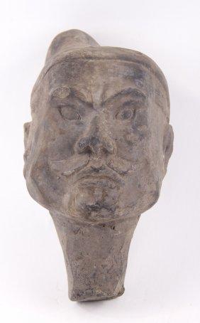 Chinese Xian Warrior Style Terra Cotta Grey Pottery Hea