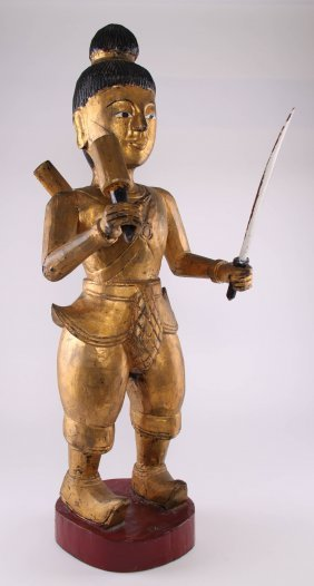 Southeast Asia Gilt Wood Warrior/soldier. Sword Is Rem