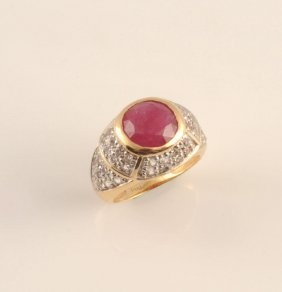 14K GOLD AND PINK SAPPHIRE