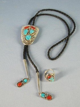 Zuni Silver Turquoise Coral Snake Bolo Tie & Ring