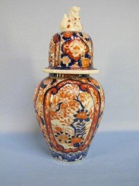 Imari Domed Lid Baluster Vase 19 Century