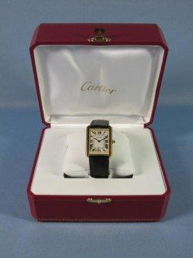 18K Y.G. Cartier Tank Men's Watch With Box