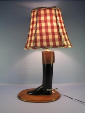 Decorative Carved & Painted Riding Boot Lamp