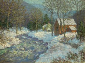 Oil On Canvas Landscape By Winfield Scott Clime
