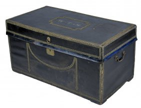 Camphor Wood With Black Leather Steamer Trunk
