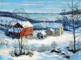 Oil On Board Landscape By Clarence Dreisbach