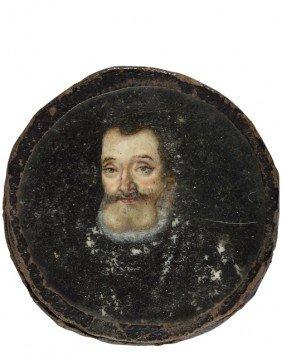 Henri IV, Roi De France. Miniature Ronde Sur Ivoire,