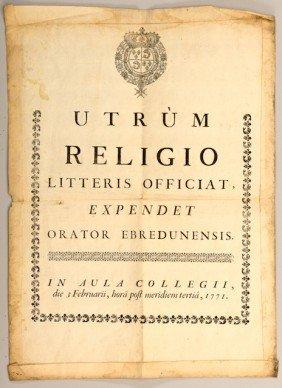 Publication Officielle Imprim�e. Texte En Latin Surm