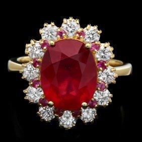 14k Yellow Gold 5.6ct Ruby 1.00ct Diamond Ring