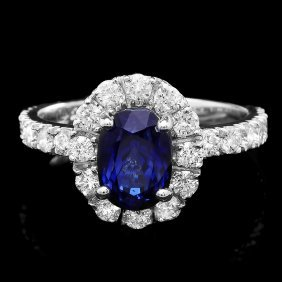 14k Gold 2.40ct Sapphire 1ct Diamond Ring