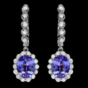14k Gold 4.7ct Tanzanite 1.3ct Diamond Earrings