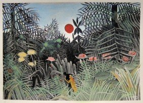 HENRI ROUSSEAU, Hand Colored And Hand Signed Lithog