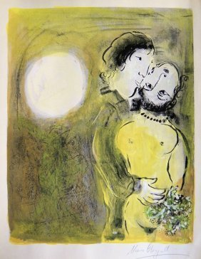 "Marc CHAGALL, Signed Original Lithograph, ""Les Amour"