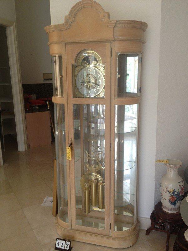 Ridgeway Light Washed Oak Cabinet Grandfather Clock Lot 8417