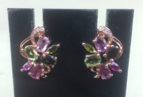 Pair Of Gilt Silver Ear Studs Inlaid With Tourmaline