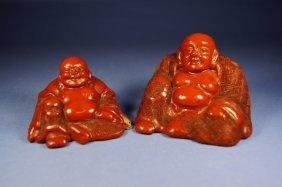 Pair Of Chinese Cinnabar Happy Buddha