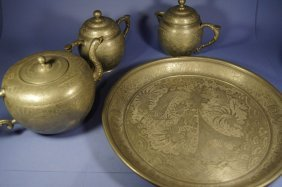 Set Of Chinese Antique Pewter Wares