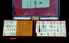 Mahjong Set Made Of Ivory & Bamboo