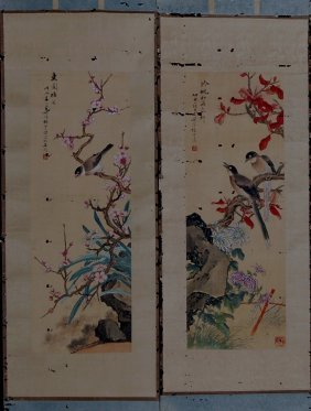 Set Of Two Chinese Paintings - Flower And Bird