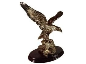 METAL CLAD EAGLE SCULPTURE, SILVER PATINATED METAL OVER